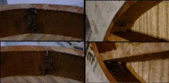 内側から見た側板接合部(表板から見て右上から時計回り)